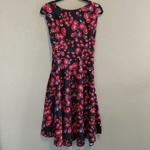Beautiful Acevog Black Dress with Red Roses